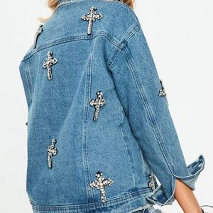 Missguided Jackets & Coats - Missguided Blue denim oversized cross jacket